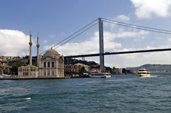 Bosphorus Bridge and Ortakoy Mosque Royalty Free Stock Images