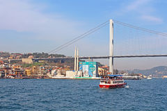 Bosphorus bridge and Ortakoy Mosque under construction Royalty Free Stock Photography