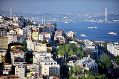 Bosphorus Bridge panorama from Galata Tower Royalty Free Stock Photos