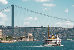 The Bosphorus Bridge and The Ship. Iconic shot of Istanbul Bosphorus Bridge, Ortakoy Mosque and the ship Royalty Free Stock Photos