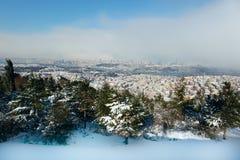 The Bosphorus Bridge on a snowy day Stock Images