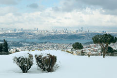 The Bosphorus Bridge on a snowy day Stock Photography