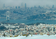 The Bosphorus Bridge on a snowy day Stock Images
