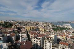 Bosphorus Bridge and Strait as seen from the European Side of Istanbul, in Turkey Stock Images