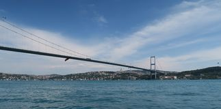 Bosphorus Bridge and Strait, as seen from Ortakoy Mosque in Istanbul, Turkey Royalty Free Stock Photos