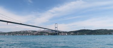 Bosphorus Bridge and Strait is Connecting Europe-Asia, as seen from Ortakoy Mosque in Istanbul, Turkey Stock Image
