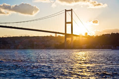 Bosphorus Bridge at sunset Stock Images