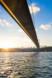 Bosphorus Bridge at sunset Royalty Free Stock Photos