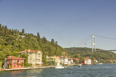 Bosphorus Bridge & Waterside Residences, Istanbul, Turkey Stock Photo