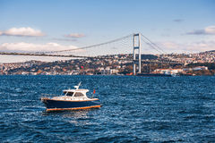 The Bosphorus Bridge which connects Europe and Asia, Istanbul Stock Photo