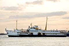 Bosphorus Cruise. Passenger ferry on the Bosphorus at sunset, Istanbul Royalty Free Stock Photos