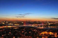Bosphorus en la puesta del sol Imágenes de archivo libres de regalías