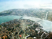 Bosphorus. The Bosphorus,flying from the aircraft,a city at a glance Stock Image
