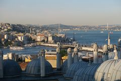 Bosphorus and Galata as seen from Suleymaniye Mosque in Istanbul, Turkey Royalty Free Stock Images