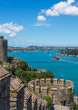 Bosphorus in Istanbul. View of the Bosphorus from Rumeli Hisari ruins Stock Photo