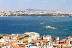 Bosphorus, Istanbul. Aerial view to Bosphorus, Istanbul. Looking over Karakoy Port to straits Stock Image
