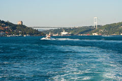 Bosphorus, Istanbul, Turkey. Second Bosphorus Brigde or Fatih Sultan Mehmet Bridge, Bosphorus, Istanbul, Turkey Royalty Free Stock Image