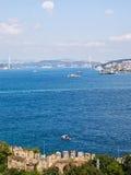 Bosphorus, Istanbul, Turkey. View on Istanbul in sunny day through Bosphorus, Turkey Royalty Free Stock Images
