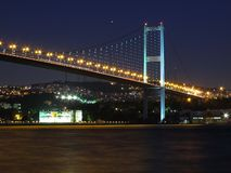Bosphorus at night. Suspension bridge over the Bosphorus between Europe and Asia stock image