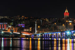 Bosphorus in the night, Galata tower royalty free stock image