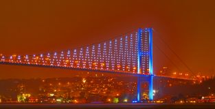 Bosphorus night sky European coast Royalty Free Stock Image