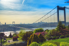 Bosphorus och Fatih Sultan Mehmet Bridge Arkivfoto