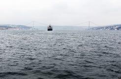 Bosphorus ship bridge Royalty Free Stock Photo