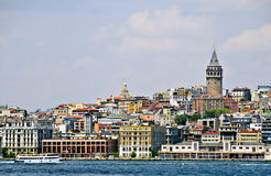 Bosphorus Shoreline, Istanbul. A view of Istanbul, Turkey, including the medieval stone Galata Tower, known as Galata Kulesi,from across the Bosphorus Straits Stock Photos