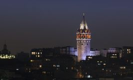 Bosphorus siktsGalata torn i Istanbul Arkivfoto