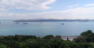 Bosphorus and some Ships as seen from Topkapi Palace in Istanbul, Turkey Stock Image