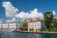 Bosphorus strait. Beautiful buildings along the shore of Bosphorus strait, Istanbul, Turkey Royalty Free Stock Images