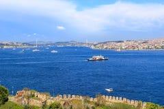 Bosphorus strait and Bosphorus bridge Stock Photos