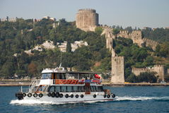Bosphorus strait cruising at Rumelihisarı (Rumelian Castle). Istanbul. Turkey Royalty Free Stock Photo