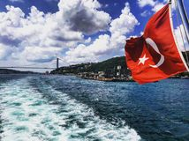 Bosphorus strait turkish flag turkey stock photos