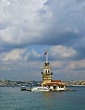 Bosphorus Straits, Istanbul. Leanders Tower, otherwise known as Maiden's Tower or  Kiz Kulesi, on an island in the Bosphorus Straits off the coast of Uskudar, is Stock Photography