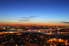 Bosphorus at Sunset. Horizontal photo of Bosphorus and Bosphorus Bridge at sunset Royalty Free Stock Images
