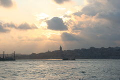 Bosphorus on Sunset Royalty Free Stock Photos