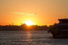 Istanbul / Turkey. Bosphorus at sunset - Istanbul/Turkey royalty free stock images