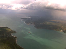 Bosphorus. View from the airplane,barge floats along the two banks Royalty Free Stock Photos