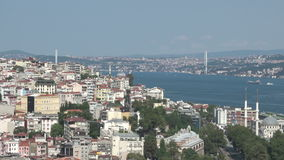 Bosphorus view from Galata Tower in Istanbul, Turkey stock video