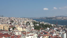Bosphorus view from Galata Tower in Istanbul, Turkey. Istanbul skyline Beyoglu district and the Bosphorus as seen from the Galata Tower on a sunny day in stock video footage