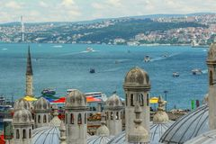 Bosphorus view. Ships floating in the sea. royalty free stock image