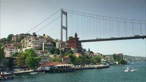 Bosphorusbrug in Istanboel, Turkije stock footage