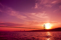 Bosphorusbrug in Istanboel, Turkije. Stock Afbeelding