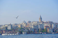 Bosporus bay area and the view to Galata Tower stock images