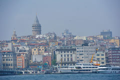 Bosporus bay area and the view to Galata Tower stock photos