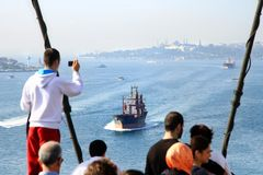 Bosporus from Bridge. Young man captures as Bosporus Sea from the bridge during intercontinental marathon run on October 17, 2010 in Istanbul, Turkey Stock Photos