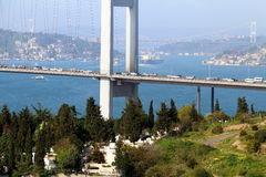 Bosporus Bridge Closeup With FSM Bridge Background. With Transportation Stock Photos