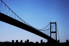 Bosporus Bridge connecting Europe and Asia Royalty Free Stock Images