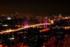 Bosporus bridge istanbul. Bosporus bridge view at night Stock Image